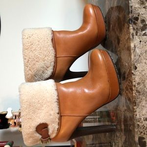 Coach soft leather brown booties